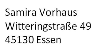 neue Adresse Samira Vorhaus