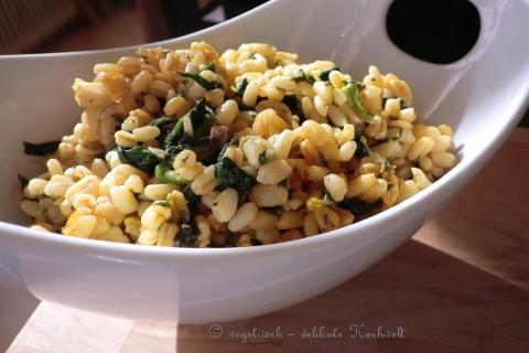 Weizen mit Spinat