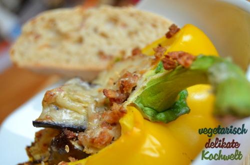 gefüllte und überbackene Paprika, vegan
