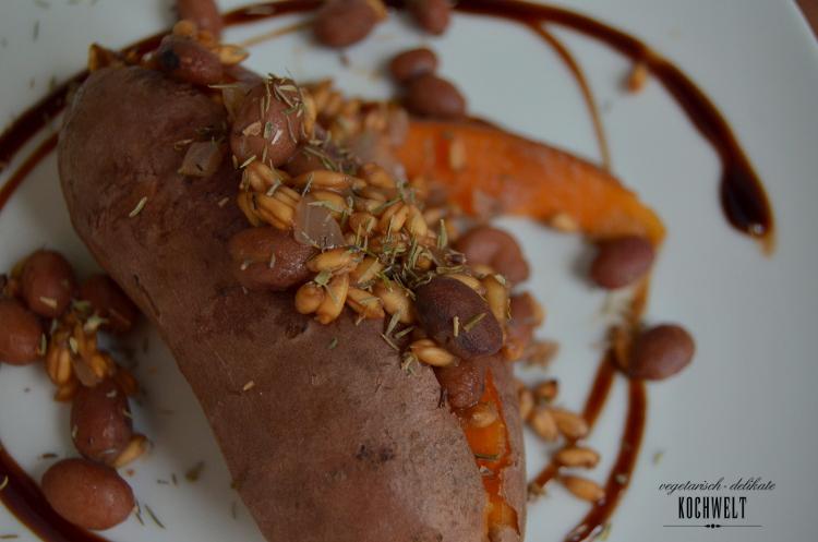 Hauptspeise - Süßkartoffeln mit Artischocke und Dips