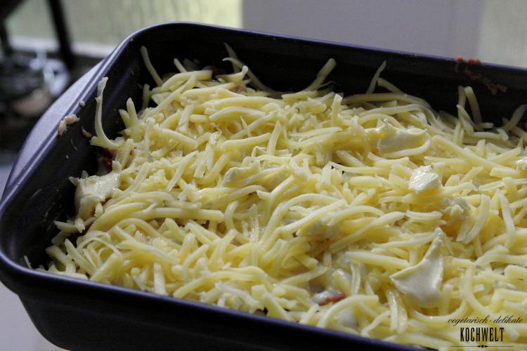 vegetarische Lasagne vor dem backen