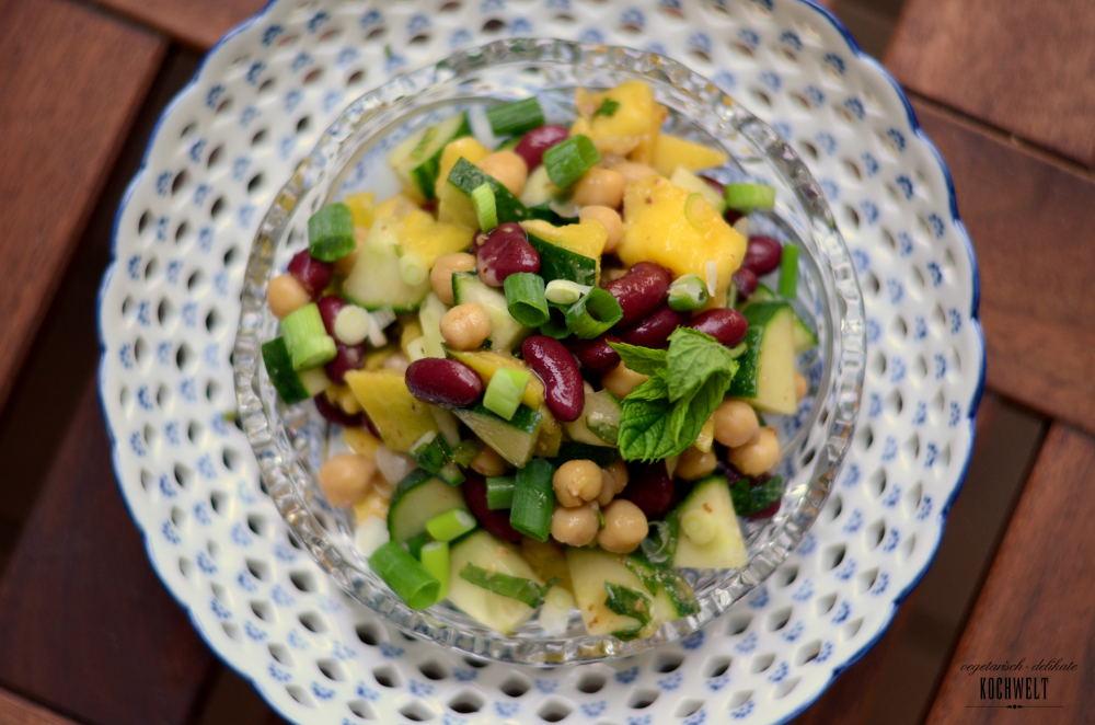 Kichererbsen-Kidneybohnensalat mit Mango