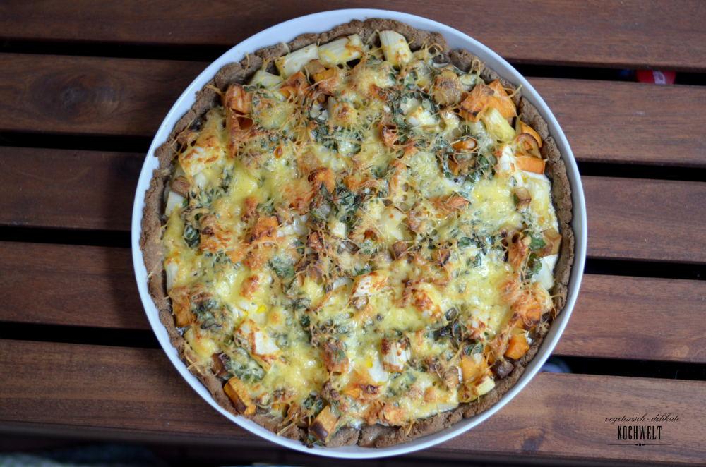 Quiche mit Süßkartoffel-Spinat-Füllung