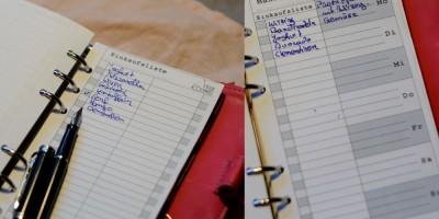 Wochenplan und Einkaufsliste