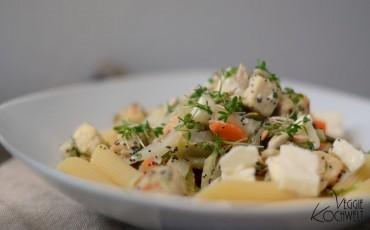 Fenchel-Mohn-Gemüse-Pfanne zu Pasta