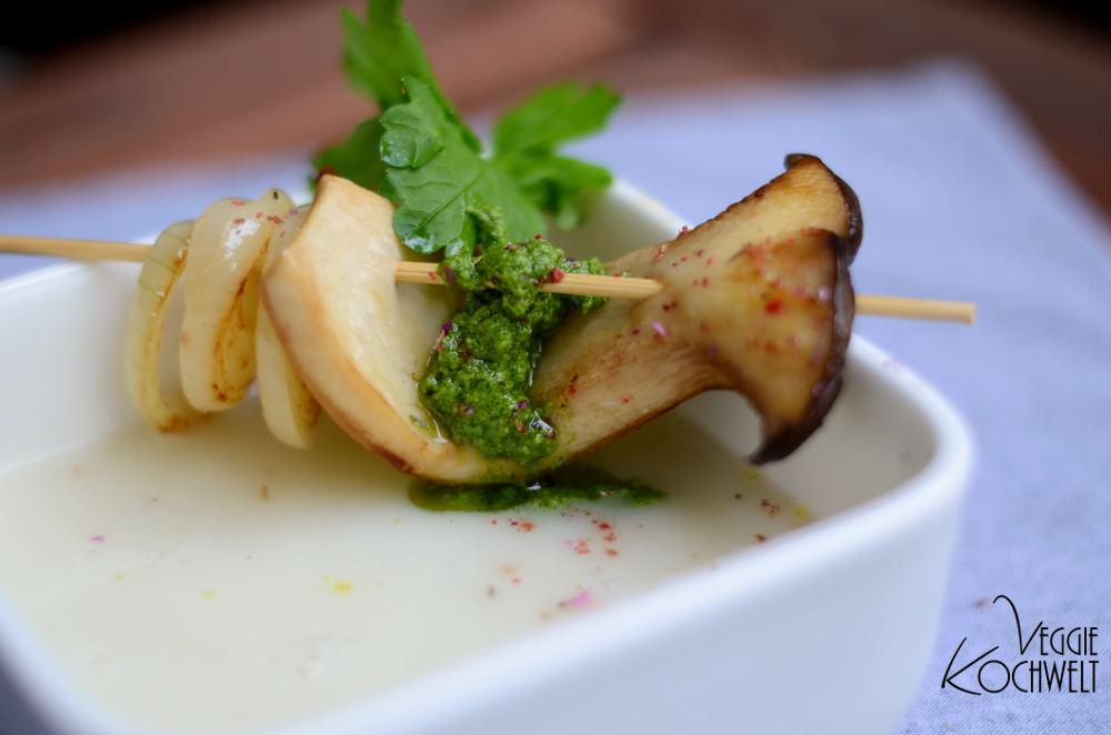 die Mädchenküche kocht zusammen -  vegane Kohlrabicremesuppe mit grünem Pesto II