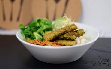 Bärlauch-Tempeh-Bowl mit Reis