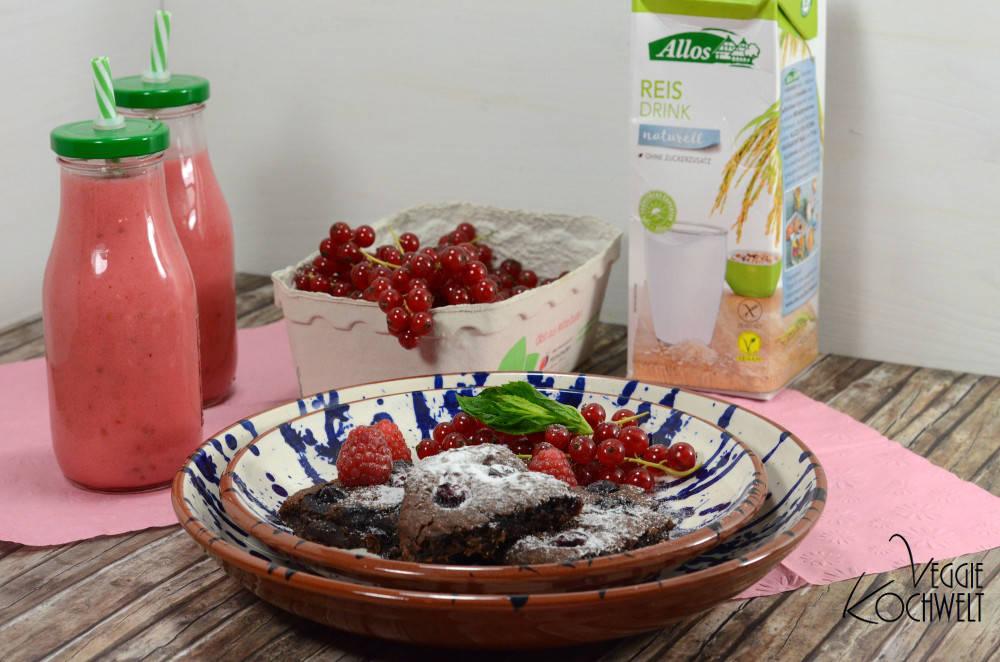 fruchtige, vegane Schoko-Brownies mit Kidneybohnen mit Reismilch von Allos
